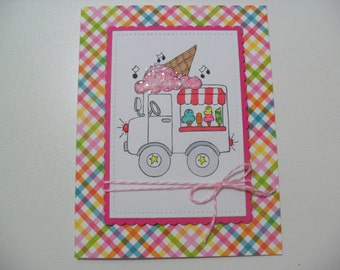 SALE - Ice Cream Truck Card - Birthday Card - Thinking of You Card - Wishing you a day filled with good things
