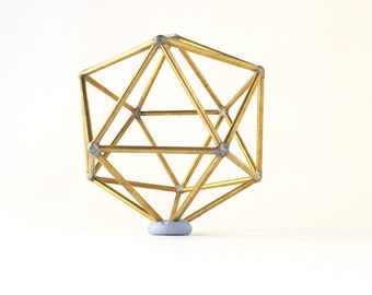 Icosahedron  platonic solids  stained brass  sacred geometry  water element