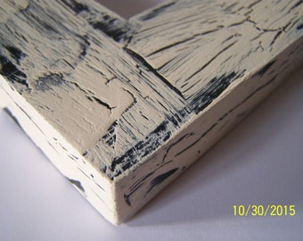 16x20 Made to Order Picture Frame ~ Rustic ~ Crackle ~  Shabby Chic ~ 36 Colors ~ 1 1/2 in Flat Profile ~ Cocoa Butter over Black