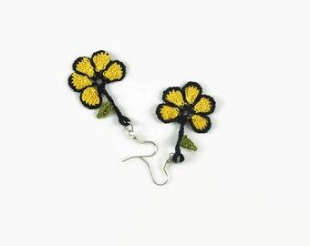 Yellow Flower Earrings, Dangle Earrings, Crochet Earrings, Crochet Jewelry, Fun Jewelry,  Boho Hippie Jewelry , Gift For Her