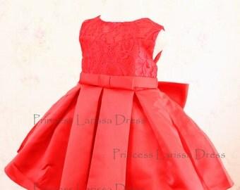 Red Sleeveless Flower Girl Dress, Toddler Christmas Dress, Infant Baby Thanksgiving Dress, Baby Girl Birthday Dress, PD101-2