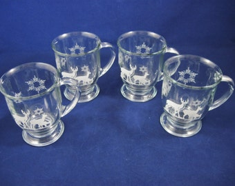 Anchor Hocking, Christmas Woodland Deer Beer Mugs with Snowflakes, Barware, Set of 4, 12 ounce Capacity