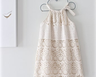 Girls Dress-Cream Cotton Lace-Baptism Dress-Toddler Dress-Birthday Party-Eco Friendly Clothing-Flower Girl- Chasing Mini