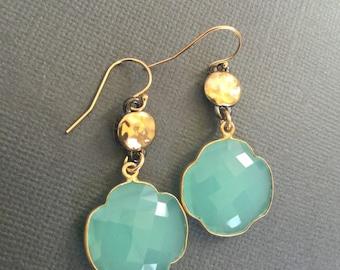 Aqua Blue Chalcedony Earrings, Four leaf clover charm, Blue Chalcedony, Birthday gift & card, gift for her, aqua blue Earrings