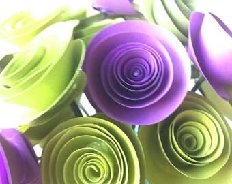Purple and green paper flowers, paper flower arrangement, paper flower bouquet, vase, flowers in vase,