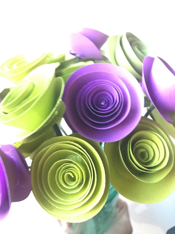 Purple and green paper flowers, paper flower arrangement, paper flower bouquet, vase, flowers in vase,