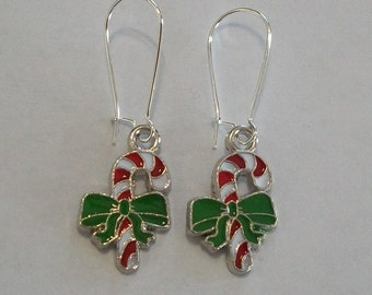 Pretty Red, Green, and White Enamel Candy Cane Earrings