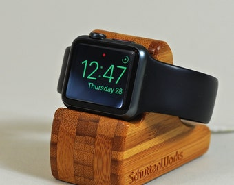Apple Watch Dock - The RIPPLE in Bamboo - Hides the cable - Perfect for Nightstand Mode.