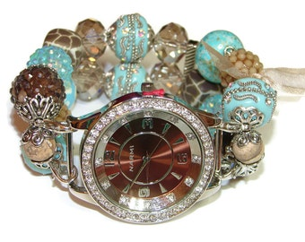 Caribbean Sand Chunky Beaded Watch - Interchangeable Watch - Bracelet Watch - Beaded Apple Watch Band - Unique Watch - Stretch Watch Band