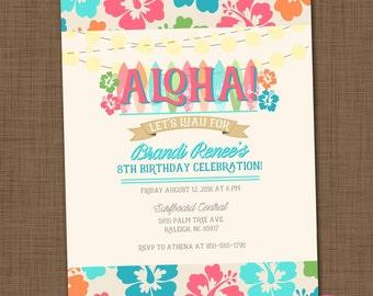 Luau invitation Luau birthday party invitation Luau theme invitation Hawaiian party Aloha invite Girl birthday party Summer invitation
