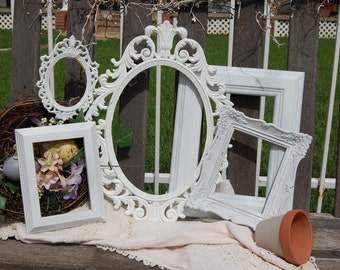 PICTURE FRAME Set  -  White  Shabby Chic Frames - Picture Frames - Gallery Wall Frames