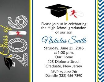 Graduation Invitation - Personalized Custom 8th Grade High School Graduation Invitation - Print Your Own