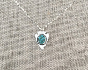 Silver and Turquoise Arrowhead