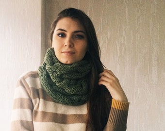 Olive green wool cowl scarf / forest green / wool and acrylic blend / cozy chunky infinity scarf / by Tebessum