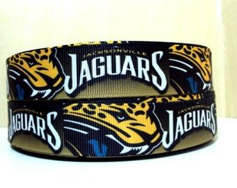 """7/8"""" Jacksonville Jaguars ribbon - 3 yards"""
