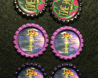 Set of 6 Finished Bottle Caps - Disney Descendants