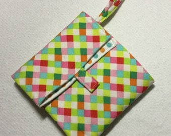 flip and go travel diaper changing pad/baby changing pad/travel diaper clutch with pockets - bright colors diagonal plaid