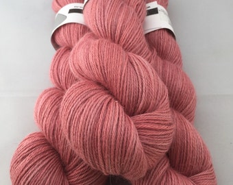 Superfine alpaca and silk sportweight yarn natural dye cochineal