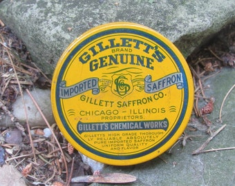 gilletts genuine imported saffron tin gilletts chemical works chicago ill