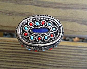 Lapis ring- Afghan vintage ring- Afghan ring- Antique ring- Vintage ring- Tribal afghan ring- Ethnic tribal ring- Stone ring- Ring