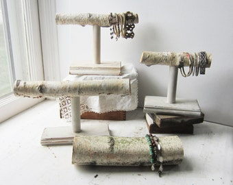 ONE Birch T-Bar Bracelet Holder - OR - Birch Log Bracelet Display - Ready to Ship