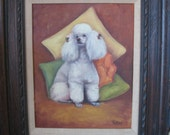 Lovely White Poodle Vintage Oil Painting
