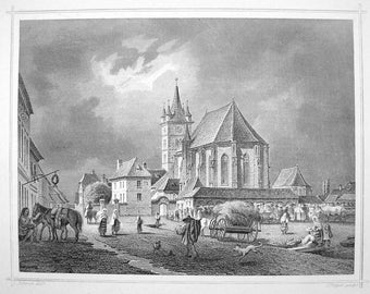 ROMANIA Sebes Evangelical Lutheran Church - SCARCE ca 140 Years Old Vintage Antique Print
