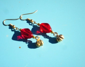 Handmade Vintage Red Bead Earrings with Tiny Bell Dangles