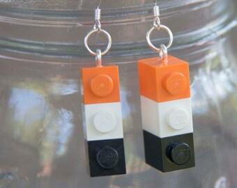 HALLOWEEN Earrings, STERLING SILVER hooks, Halloween Party Accessory, Black and Orange, Halloween Jewelry, Lego® Earrings