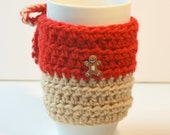 Gingerbread Coffee Cozy in Red and Buff, Crochet Holiday Coffee sleeve. Eco friendly cozy, Stocking stuffer, Ready to ship