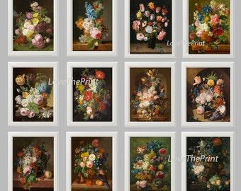Flower Print SET of 12 Botanical Art Print 8X10 JFD Antique Roses Hyacinth Tulip Bird Nest Eggs Butterfly Summer Garden to Frame Wall Decor