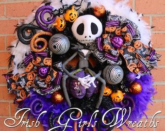 Jack Skellington Wreath, Nightmare Before Christmas Wreath, Pumpkin King Wreath, purple Halloween Wreath,  Fall Swag - READY TO SHIP