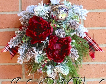 Rustic Winter Burgundy Floral Swag, Christmas Wreath, Sleigh Bell, Christmas Floral, Christmas Swag, Lodge Cabin Woodland Door Wall Hanging