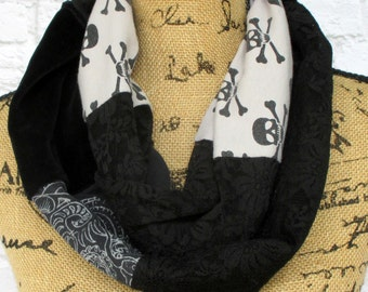 Ladies Infinity Scarf - Black Lace Scarf - Skulls Scarf - Upcycled Clothing - Handmade Scarf - Infinity Scarf - Circle Scarf - Skulls - Lace