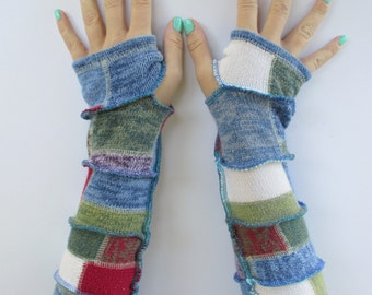 Bohemian Clothing - Handmade Gloves - Patchwork Arm Warmers - Quilter Gloves - Gift for Her - Hippie Gloves - Gypsy Gloves - Gifts Under 30