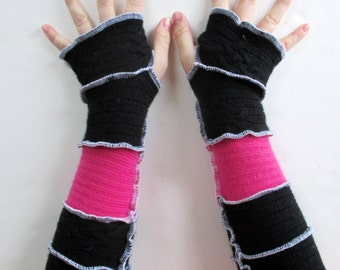 Fingerless Gloves  - Texting Gloves - Recycled Sweaters -  Arm Warmers - Gauntlets - Gothic Arm Warmers - Festival Gloves - SALE