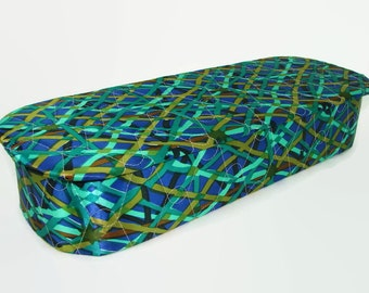 Satin Quilted Lingerie Box, Mod Geometric Print Blue Green Gold Covered Glove Box, Hippie Satin Jewelry Storage Box