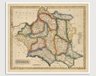 Old Poland Map Art Print 1817 Antique Map Archival Reproduction