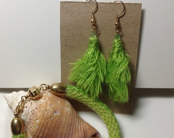 Lime green bracelet and matching earrings set. Cotton, gold plated findings