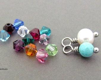 Add on birthstone charm, Swarovski crystal, freshwater pearl or turquoise bead