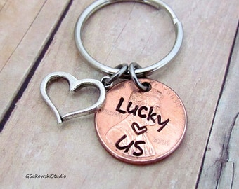 Lucky Us Penny Heart Charm Couple Keychain, Personalized Antique Silver Penny Heart Charm Anniversary Keyring