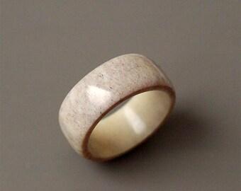 Antler ring - Size 10 US, Antler rings, Antler jewelry, Band ring, Antler band ring, Men ring, Grey ring, Deer antler ring, Deer antler