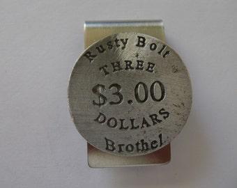 Rusty Bolt Brothel Token Money Clip