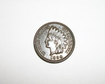 Indian Head Penny 1890 4 Diamonds Almost Uncirculated
