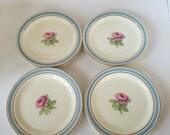 Vintage Taylor Smith Dessert Plates set 8 Blue & Gold Rim / Shabby Chic China Dessert Plates Rose Pattern
