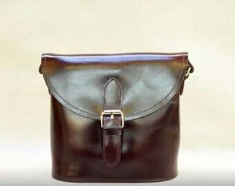 Vintage Style Genuine Leather Crossbody Messenge Bag - Dark brown