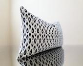 Ikat pillow - Lumbar Pillow cover -14 x 24 Lumbar Pillow Cover, Navy Lumbar pillow with small Ikat print - Pick your size and trim