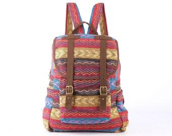 Collage Backpack Utility Rucksack Knapsack Carry on Bag Lined Woven Textile/ Tapestry (Light color)
