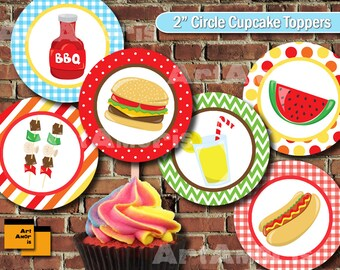 BBQ Party Cupcake Topper, Party circle, Picnic, Party Printable, Party Decoration, Grill, Barbeque, Barbecue, Backyard, party circle TFP-1