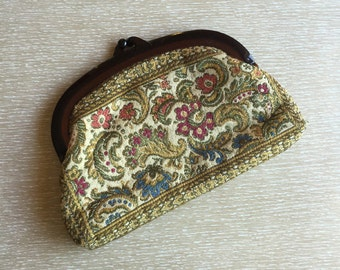 Vintage Tapestry Clutch Purse